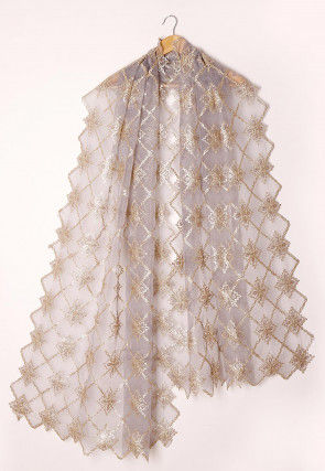 Embroidered Tissue Scalloped Dupatta in Light Grey