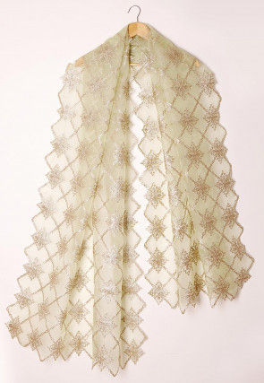 Embroidered Tissue Scalloped Dupatta in Pastel Green