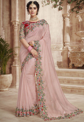 Embroidered Tissue Silk Scalloped Saree in Dusty Pink