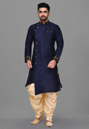 Embroidered Trim Dupion Silk Asymmetric Sherwani in Navy Blue