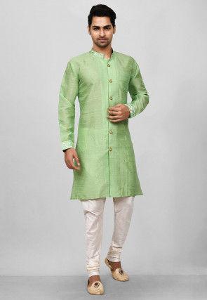 Embroidered Trim Dupion Silk Sherwani in Light Green