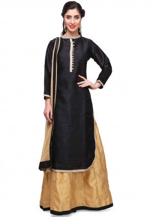 Embroidered Trims Dupion Silk Lehenga in Black