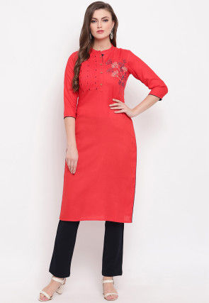 Embroidered Tucked Rayon Straight Kurta in Red