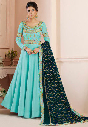 Embroidered Tussar Silk Abaya Style Suit in Sky Blue