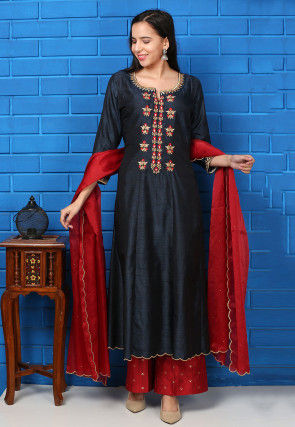 Embroidered Tussar Silk Pakistani Suit in Dark Blue