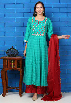 Embroidered Tussar Silk Pakistani Suit in Teal Green
