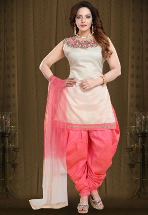 Embroidered Tussar Silk Punjabi Suit in Cream