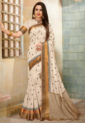 Embroidered Tussar Silk Saree in Light Beige