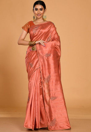 Embroidered Tussar Silk Saree in Light Rust