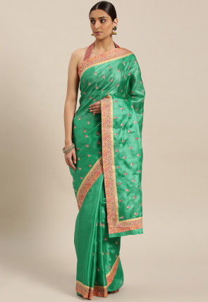 Embroidered Tussar Silk Saree in Light Teal Green