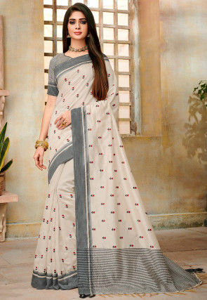Embroidered Tussar Silk Saree in Off White