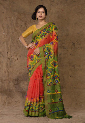 Embroidered Tussar Silk Saree in Peach and Light Green