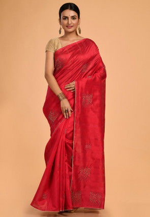 Embroidered Tussar Silk Saree in Red
