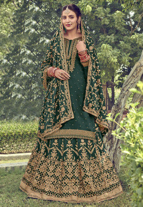Embroidered Upada Silk Lehenga in Dark Green