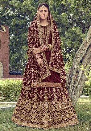 Embroidered Upada Silk Lehenga in Maroon