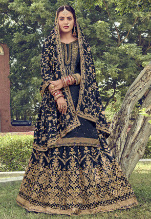 Embroidered Upada Silk Lehenga in Navy Blue