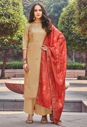 Embroidered Upada Silk Pakistani Suit in Beige