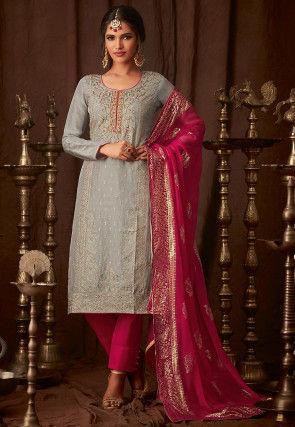 Embroidered Uppada Silk Pakistani Suit in Grey