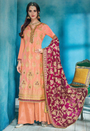 Embroidered Upada Silk Pakistani Suit in Light Orange