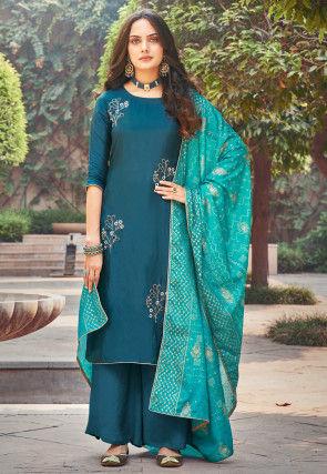 Embroidered Upada Silk Pakistani Suit in Teal Blue