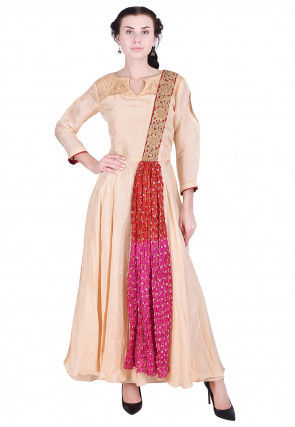 Embroidered Uppada Silk Long Kurta in Beige