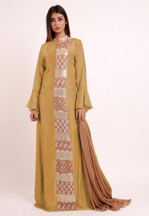 Embroidered Uppada Silk Abaya Style Suit in Beige