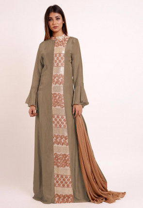 Embroidered Uppada Silk Abaya Style Suit in Fawn