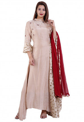 Embroidered Uppada Silk Abaya Style Suit in Light Beige