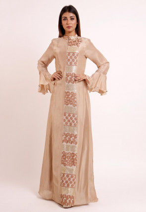 Embroidered Uppada Silk Long Kurta in Light Beige