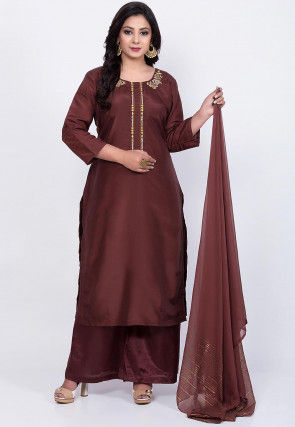 Embroidered Uppada Silk Pakistani Suit in Brown