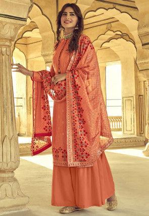 Embroidered Uppada Silk Pakistani Suit in Orange