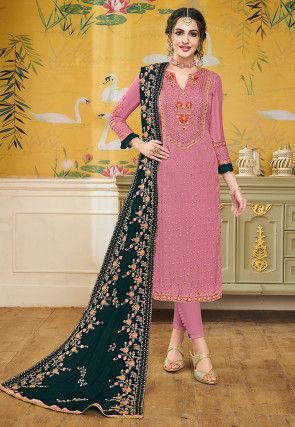Embroidered Uppada Silk Pakistani Suit in Pink