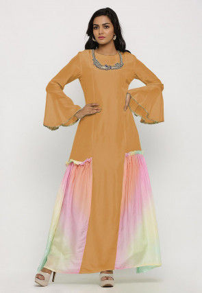 Embroidered Uppada Silk Panelled Long Kurta in Mustard