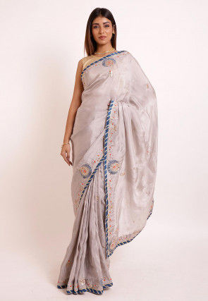 Embroidered Uppada Silk Saree in Light Grey