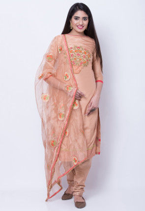 Embroidered Uppada Silk Straight Suit in Peach