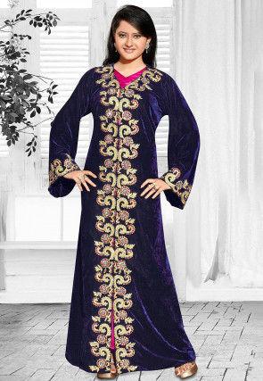 Embroidered Velvet Abaya in Navy Blue