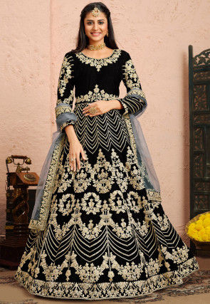 Embroidered Velvet Abaya Style Suit in Black