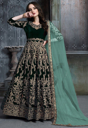 Embroidered Velvet Abaya Style Suit in Dark Green
