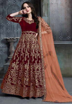 Embroidered Velvet Abaya Style Suit in Maroon