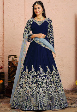 Embroidered Velvet Abaya Style Suit in Navy Blue