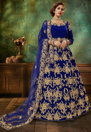 Embroidered Velvet Abaya Style Suit in Royal Blue