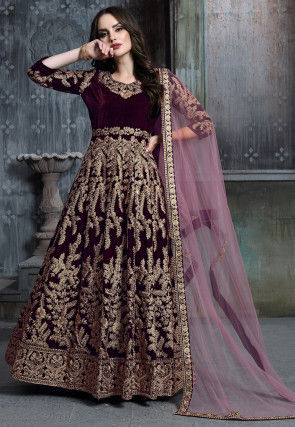 Embroidered Velvet Abaya Style Suit in Wine