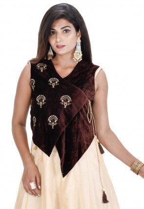 Embroidered Velvet Asymmetric Jacket in Brown