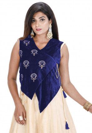 Embroidered Velvet Asymmetric Jacket in Dark Blue