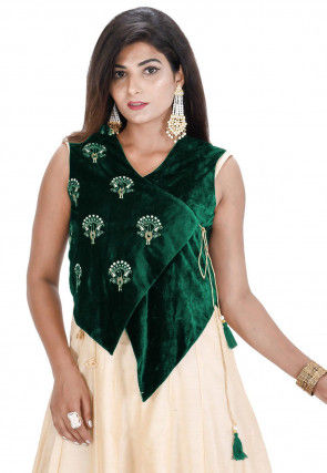 Embroidered Velvet Asymmetric Jacket in Dark Green