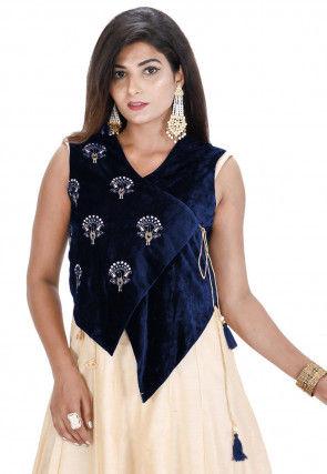 Embroidered Velvet Asymmetric Jacket in Navy Blue