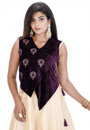 Embroidered Velvet Asymmetric Jacket in Violet