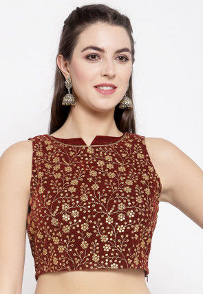 Embroidered Velvet Crop Top in Maroon