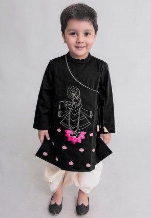 Embroidered Velvet Dhoti Kurta in Black