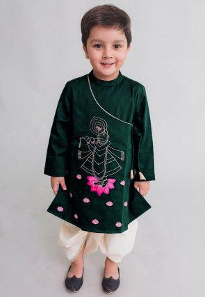 Embroidered Velvet Dhoti Kurta in Dark Green